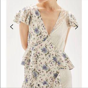 Peplum ruffle and lace midi dress